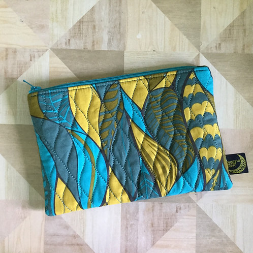 Zip pouch - teal leaves