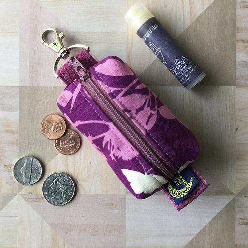 Mini clip pouch - purple butterfly