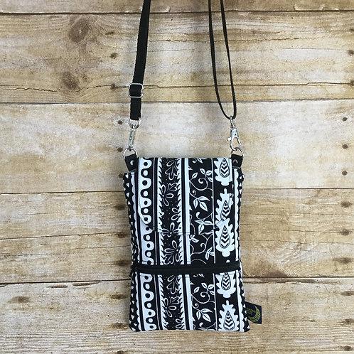 Phone crossbody - mono floral stripe