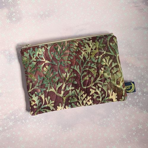 Zip pouch - kelp batik