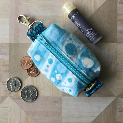 Mini clip pouch - blue polka dots
