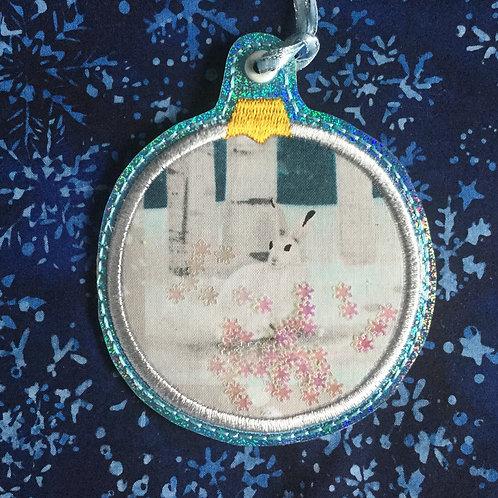Snow Globe ornament - winter hare