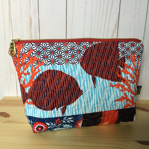 Quilted cosmetics bag - coral fish