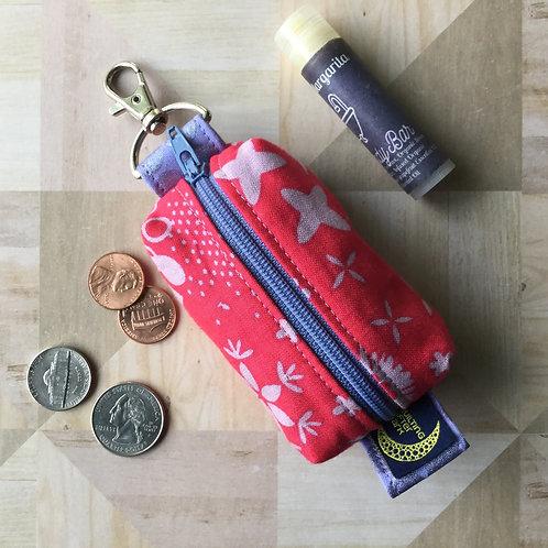 Mini clip pouch - fushia floral