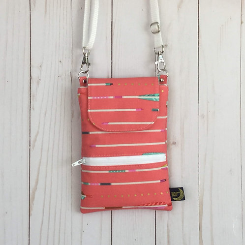 Phone crossbody - pink arrows