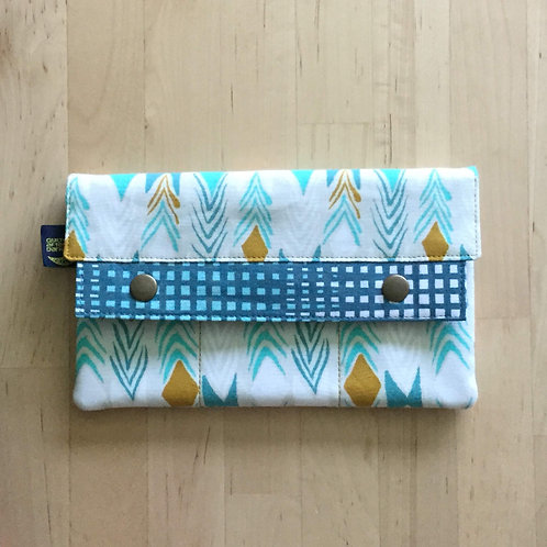 Gold & Teal Chevrons minimalist wallet
