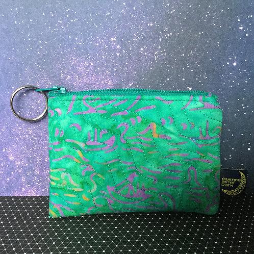 Card pouch - teal batik
