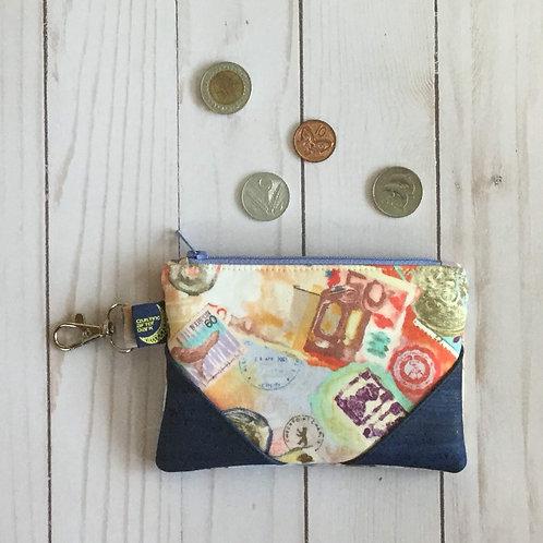 Cork coin purse - travel collage