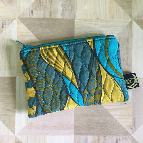 Card pouch - teal leaves