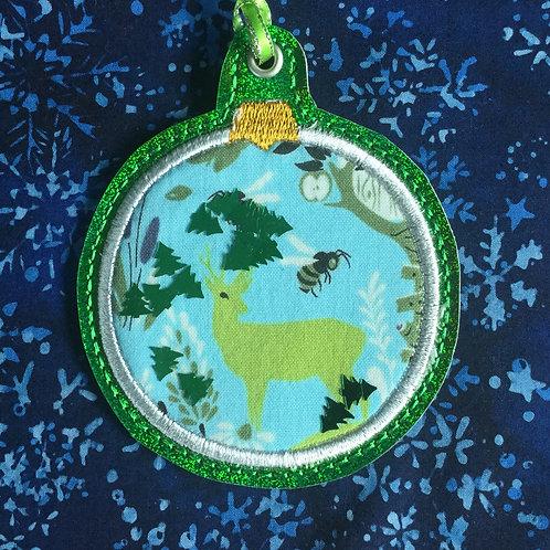 Snow Globe ornament - campsite deer