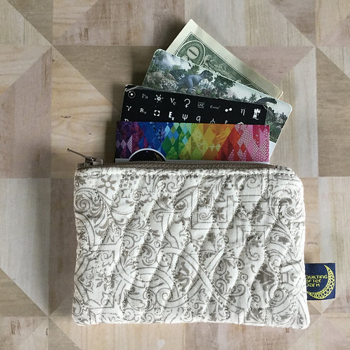 Card pouch - taupe scrolls