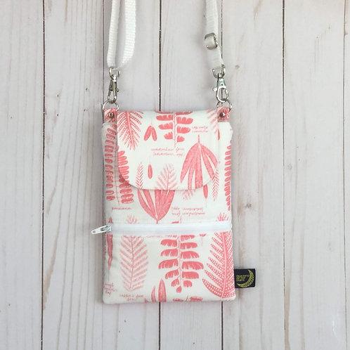 Phone crossbody - pink ferns