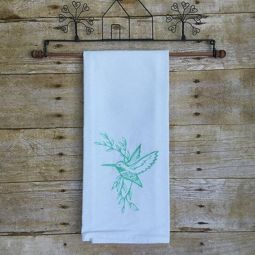 Tea towel - emerald hummingbird