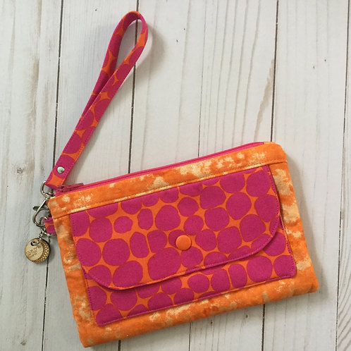 Phone clutch - pink and orange