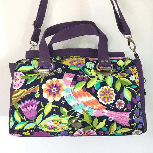 Floral Feathers barrel bag