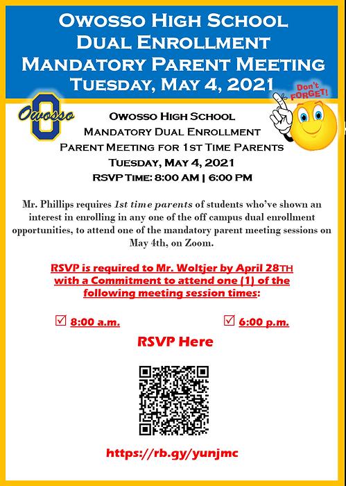 Dual Enrollment Parent Event May 4 2021.