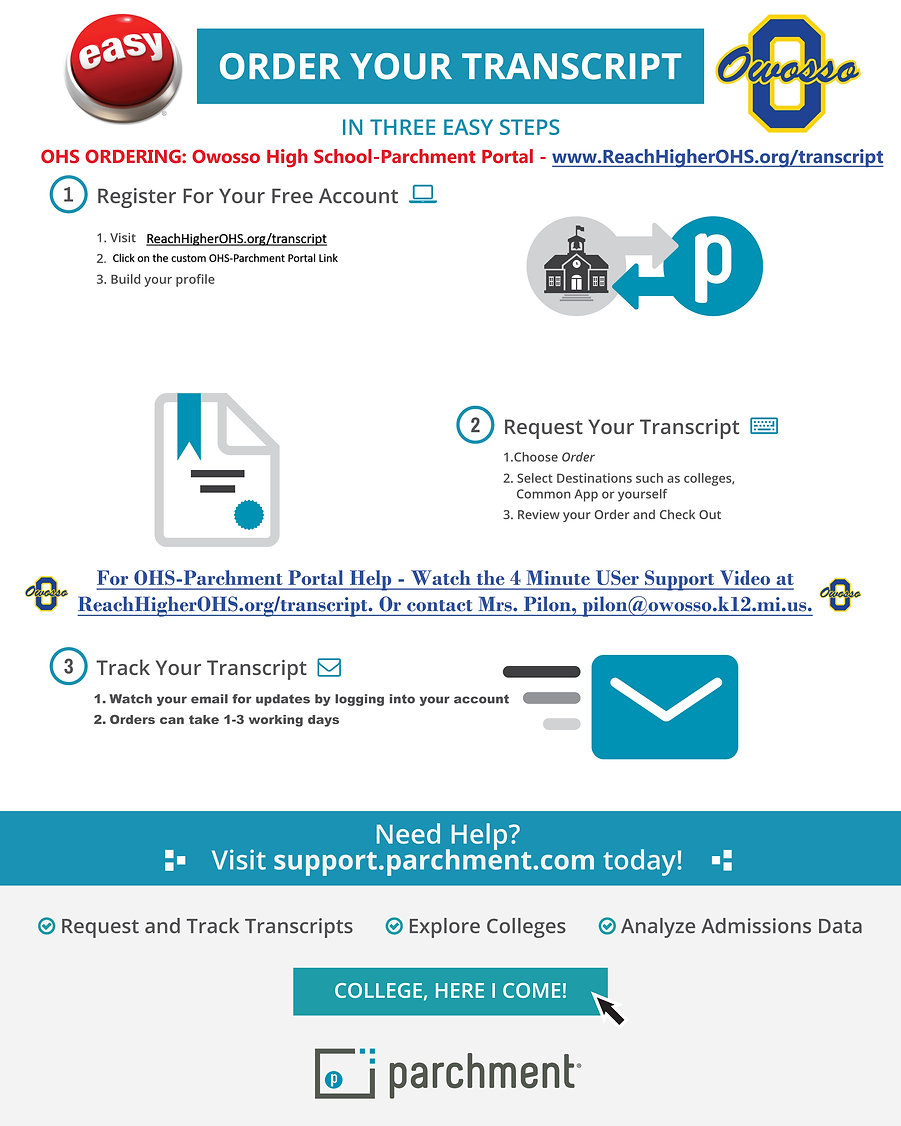 OHS Parchment Portal Tips: Register, Request, Track your orders. Support tutorial video below.