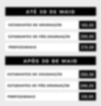 Tabela de valores - inscrições ASO 2018