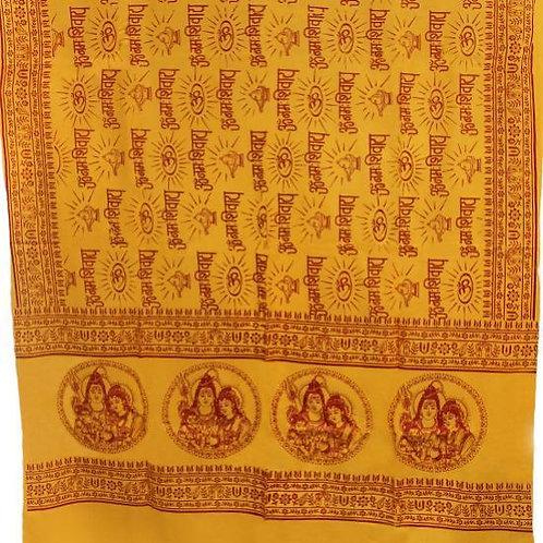 Hindu Meditation & Yoga  Prayer Shawl - Shiva, Parvati, and Ganesh