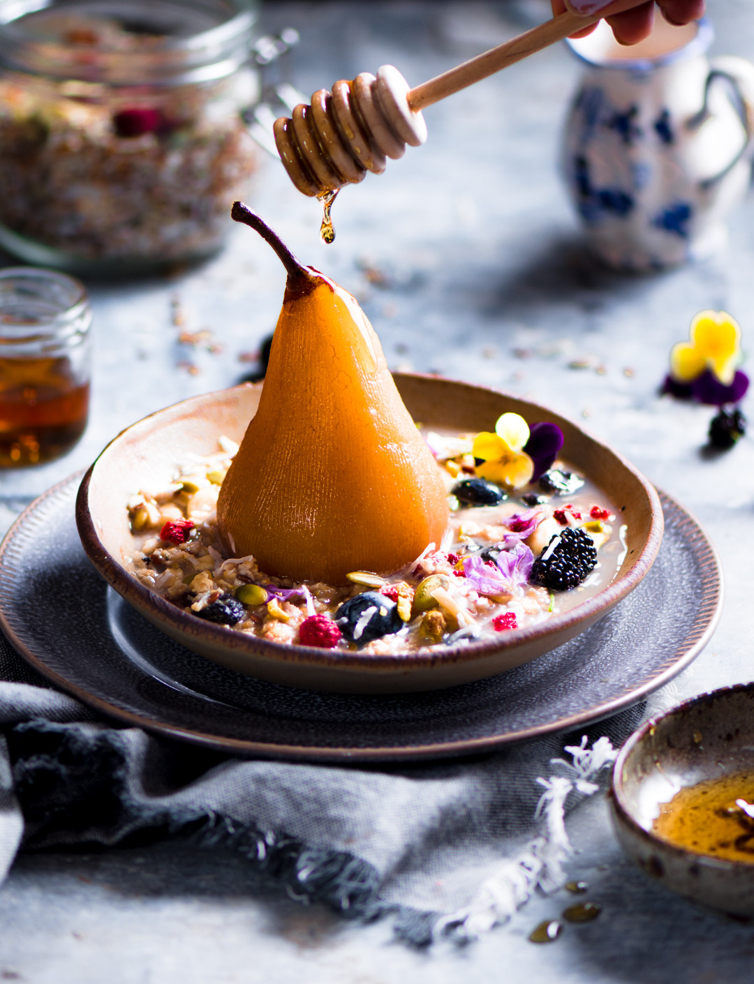 Poached pear with Bircher muesli.jpg