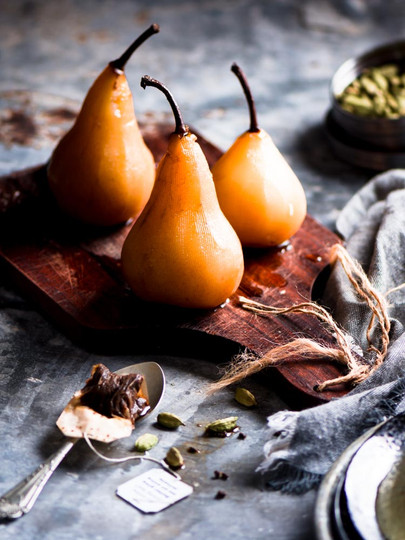 Poached pear styling and Photography