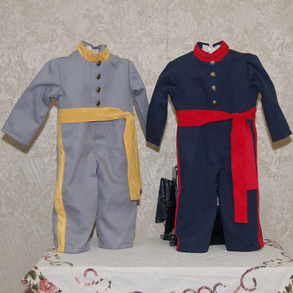 UNION SOLDIER  #B031-I   -   For Infant $55.00 #B031-T  -   For Toddler  CONFEDERATE SOLDIER #B030-I   -   For Infant $55.00 #B030-T  -   For Toddler $65.00