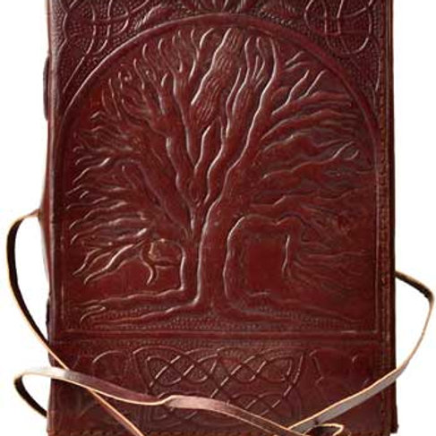 Sacred Oak Tree Leather Blank Book with Cord