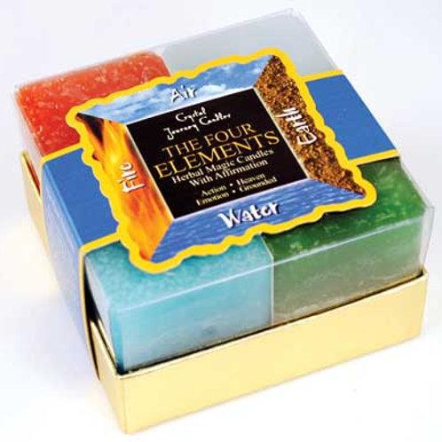Four Elements square votive candle set of 4