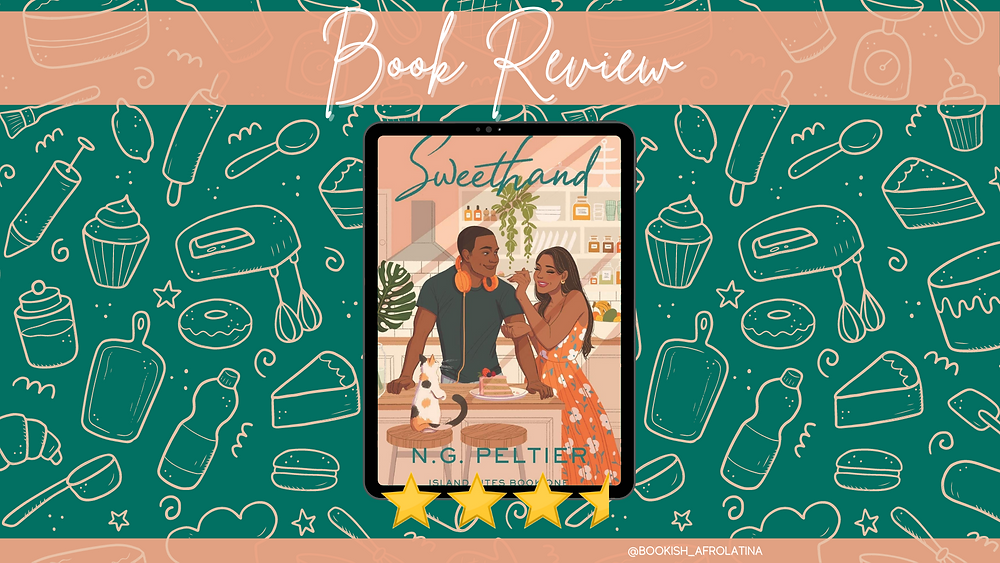 E-book of Sweethand with a rating of 3.5 stars over a backdrop of pale pink baking tools and treats.