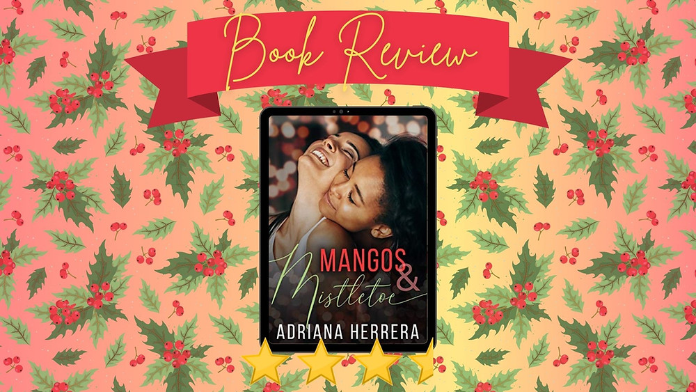 Red Ribbon with Book Review in yellow script over it. E-book copy of Mangos & Mistletoe framed by 3.5 stars atop a background of mistletoes.