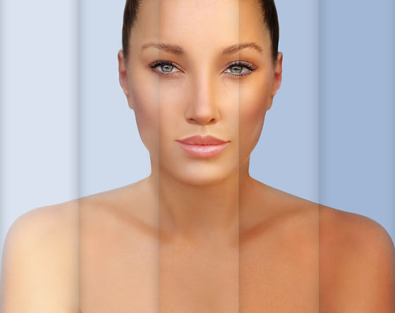 Beauty visual about suntan. Model's face