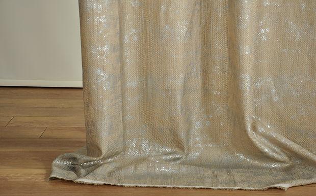 BBA21 13156 FOIL PRINT TEXTURED LINEN SHEER
