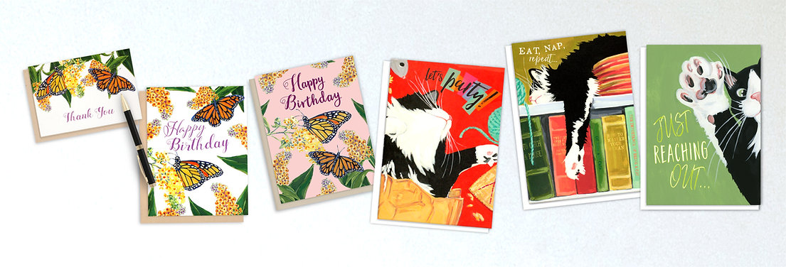 Tilia Press Greeting Cards on Etsy -Monarch Butterfly cards and Funny Tuxedo Cat Cards - Shop Now!