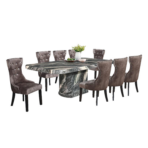 GRAMMERCY 1+8 Marble Dining Set