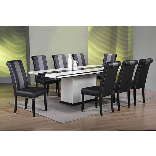 SEVERINE-P 7ft 1+8 Marble Dining Set