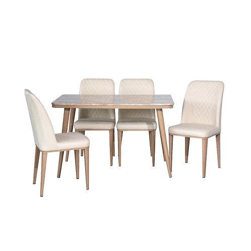 FLORENCE Marble Dining Set (Light)