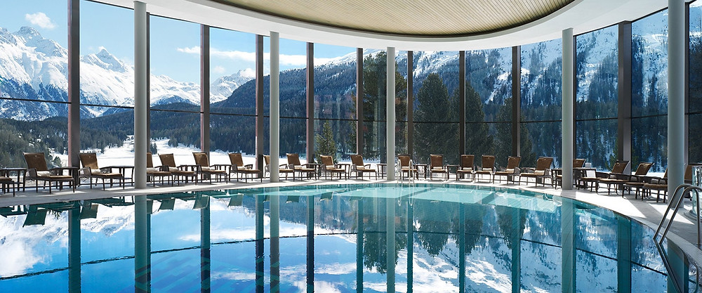 Spa view at Badrutt Hotel infinity pools and spa Switzerland, 5 star hotel