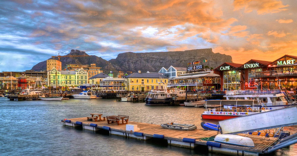 VA Waterfront sunset in Cape Town, South Africa. Harbour sunset