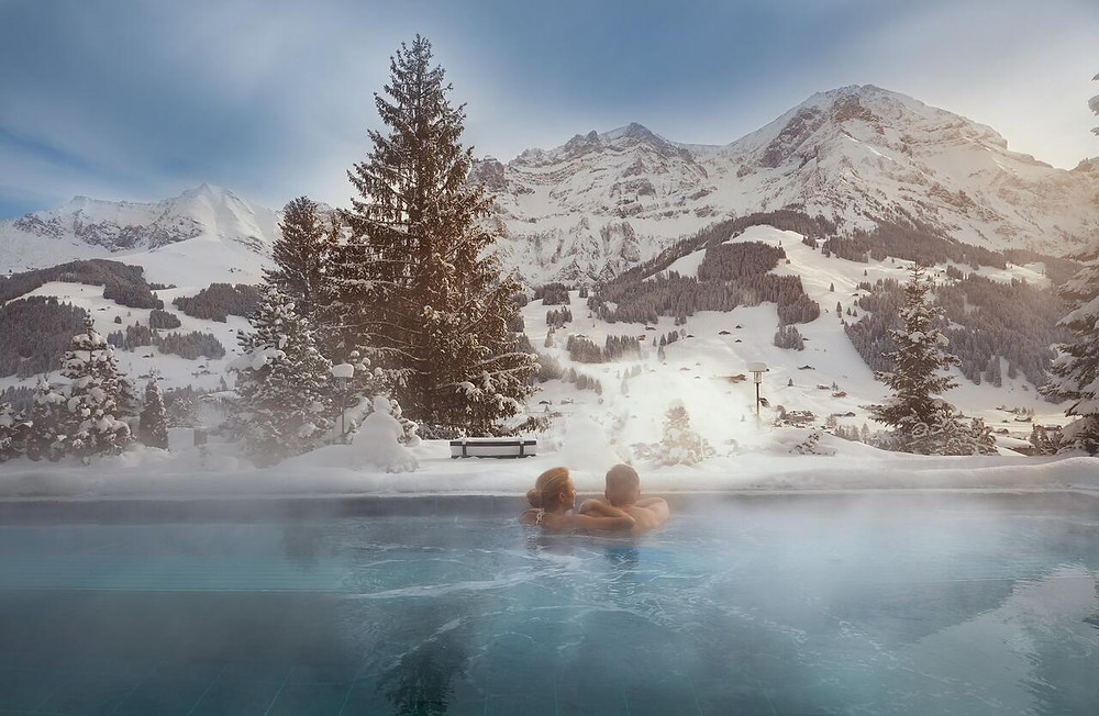 Serenity at Bellevue Parkhotel infinity pool, Swiss Alps, Switzerland, 5 star hotel and spa
