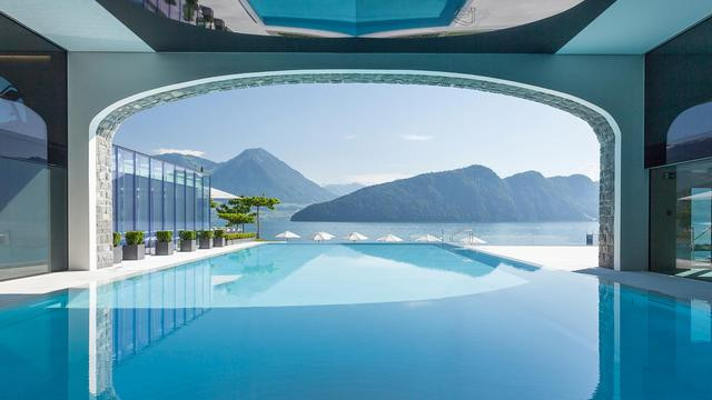 Lake view from Vitznau Park hotel pool, Lucerne, Switzerland, 5 star hotel and spa