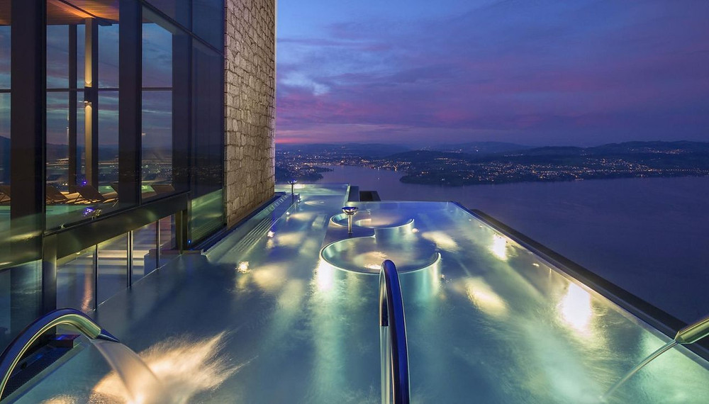Night ski at Bürgenstock infinity pool, 5 star hotel, Switzerland spa