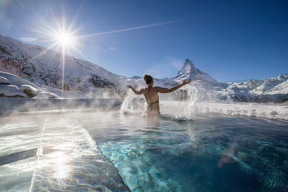 View of the Matterhorn from Hotel Riffelalp , Zermatt, infinity pool