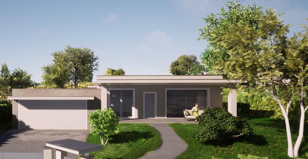 Ogni villa dispone di un ampio portico coperto, vetrate luminose e box auto doppio.