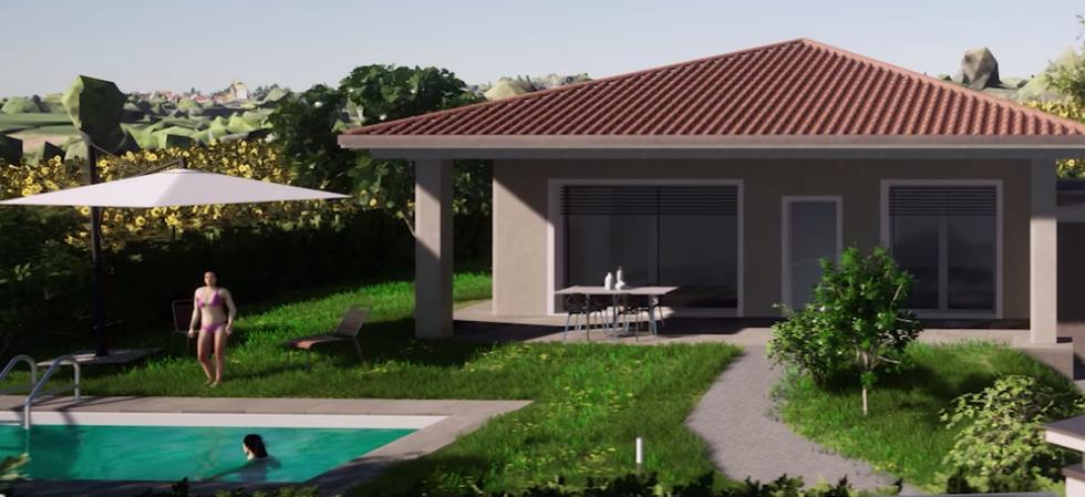 Ogni villa dispone di un proprio giardino, con possibilità di realizzare una piscina.