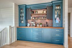 custom blue painted coffee bar