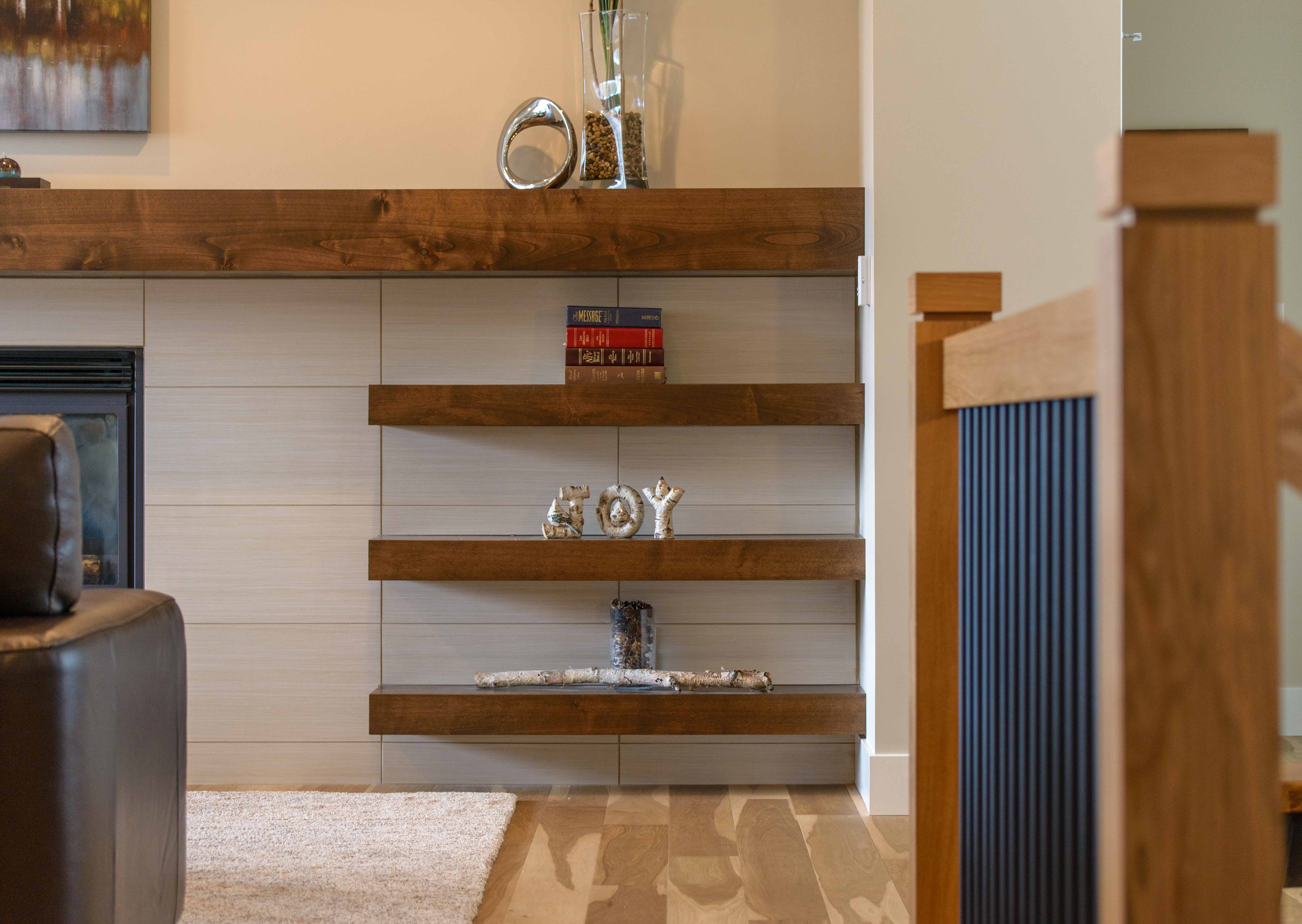 Transitional style floating shelves