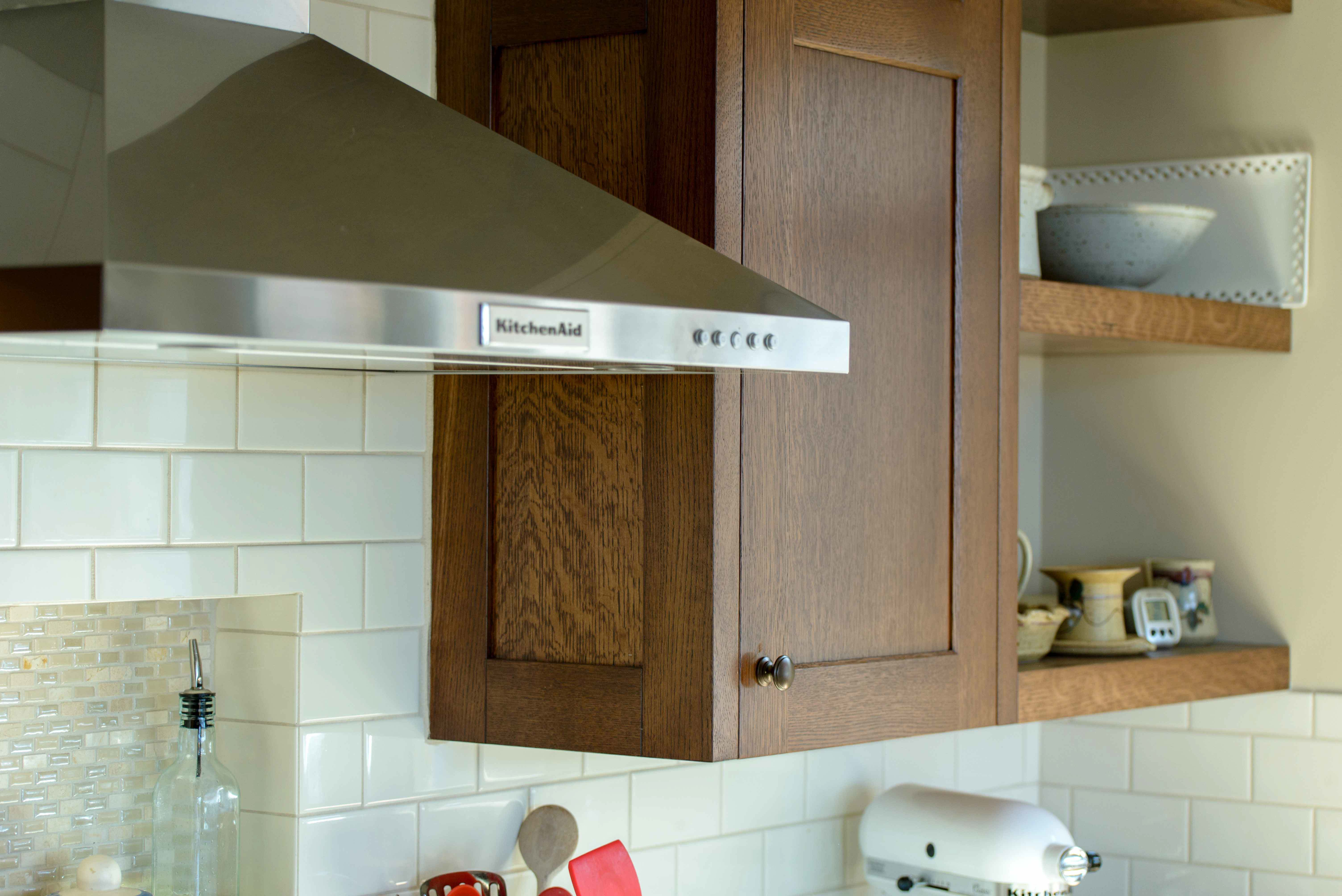 Stained wood cabinets & shelving