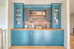 coffee bar with chalk board painted doors