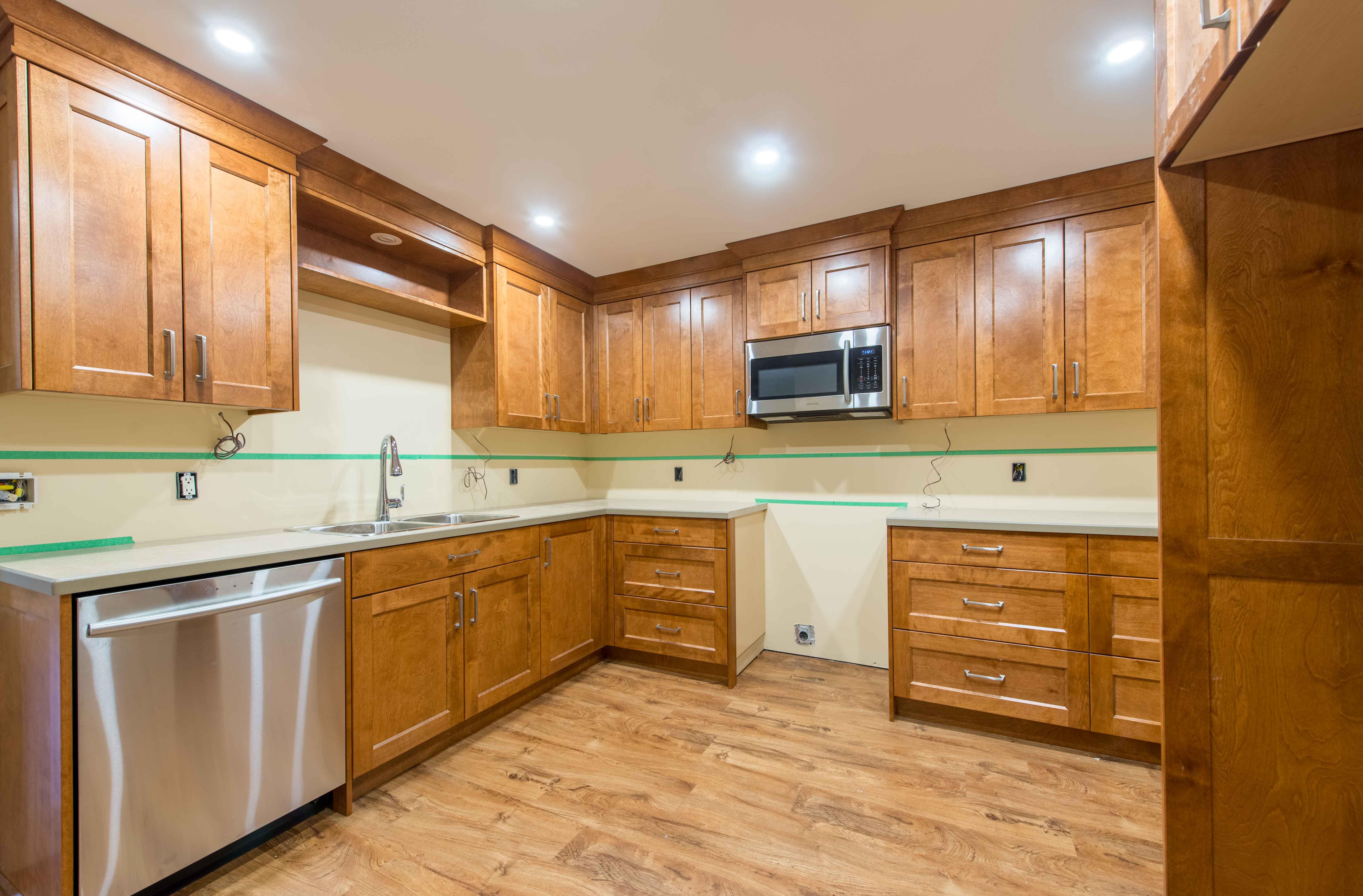 Custom built wood kitchen cabinets