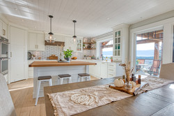 butcher block island top with overhang for seating